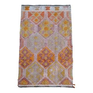 Hand-Woven Braided Rug Turkish Jajim Small Kilim Rug - 1′7″ × 2′6″ For Sale