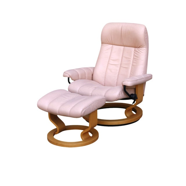 """Ekornes Pink Leather """"Stressless"""" Recliner & Ottoman For Sale"""