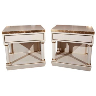 White Hollywood Regency Nightstands - A Pair For Sale