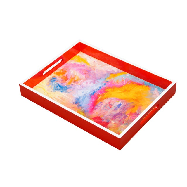 """Not Yet Made - Made To Order Wood Lacquer Tray Featured Painter/Artist """"Bruce Mishell"""" Titled """"The Other Side"""" For Sale - Image 5 of 6"""