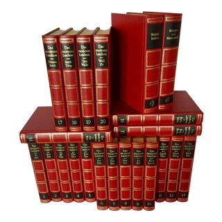 Late 20th Century Contemporary Red and Black Leatherette Book Collection, Das Moderne Lexikon, Set of 22 For Sale