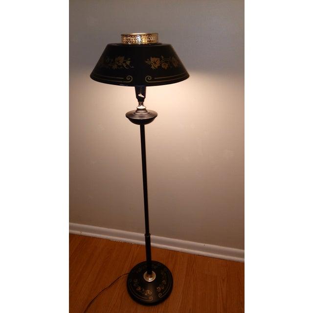 Mid Century Black Metal Toleware Floor Lamp Chairish