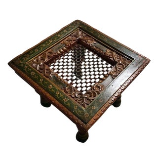 Hand-Painted Intrinsic Carving Side / End Table For Sale