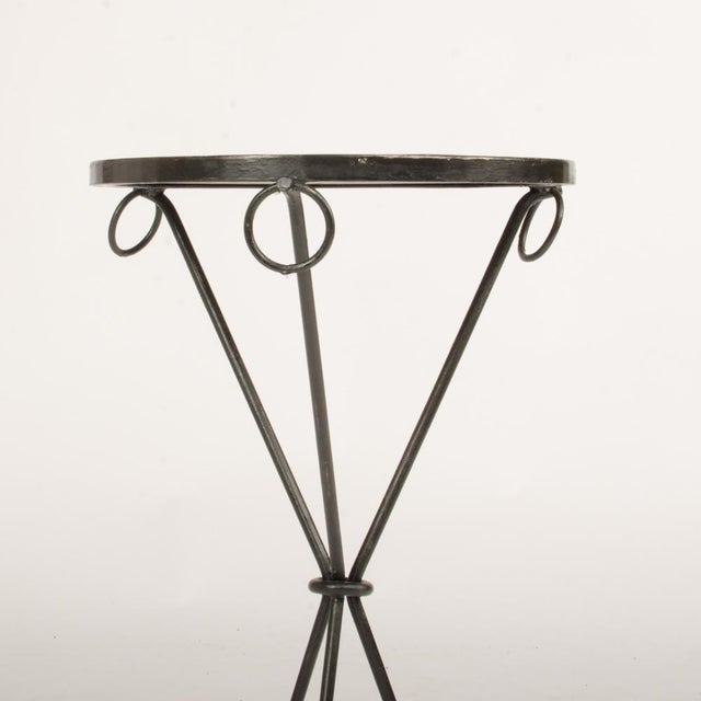 Metal Contemporary Wrought Iron Drink Tables With Parquet Tops in the Manner of Jean-Michel Frank - a Pair For Sale - Image 7 of 8
