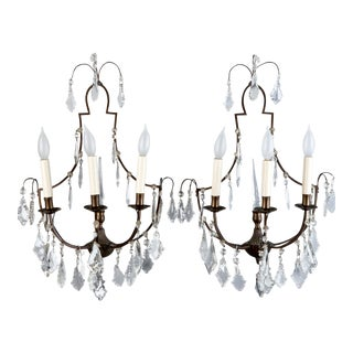 Pair French Delicate Three Light Metal and Crystal Sconces