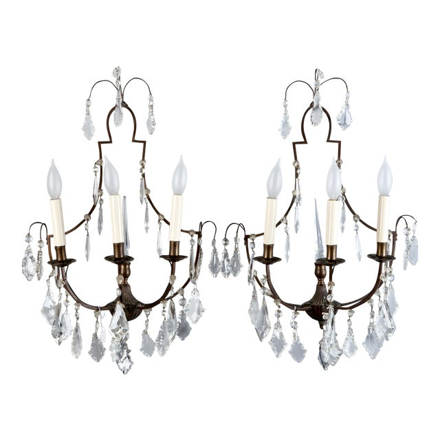 Pair French Delicate Three Light Metal and Crystal Sconces - Image 1 of 6