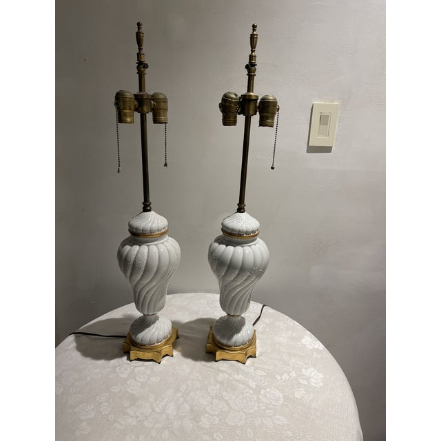 Metal Antique 1940s French Porcelain Table Lamps With Overlay Floral Decoration - a Pair For Sale - Image 7 of 7