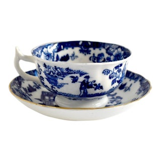 Antique Georgian Blue & White Staffordshire Chinoiserie Cup and Saucer - a Pair For Sale