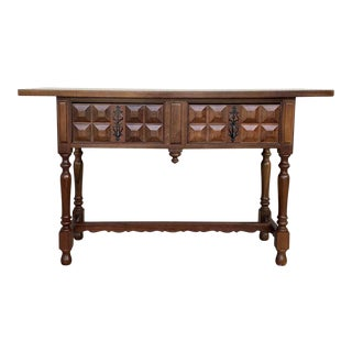20th Century Carved Two-Drawer Spanish Chesnut Console Table With Iron Hardware For Sale