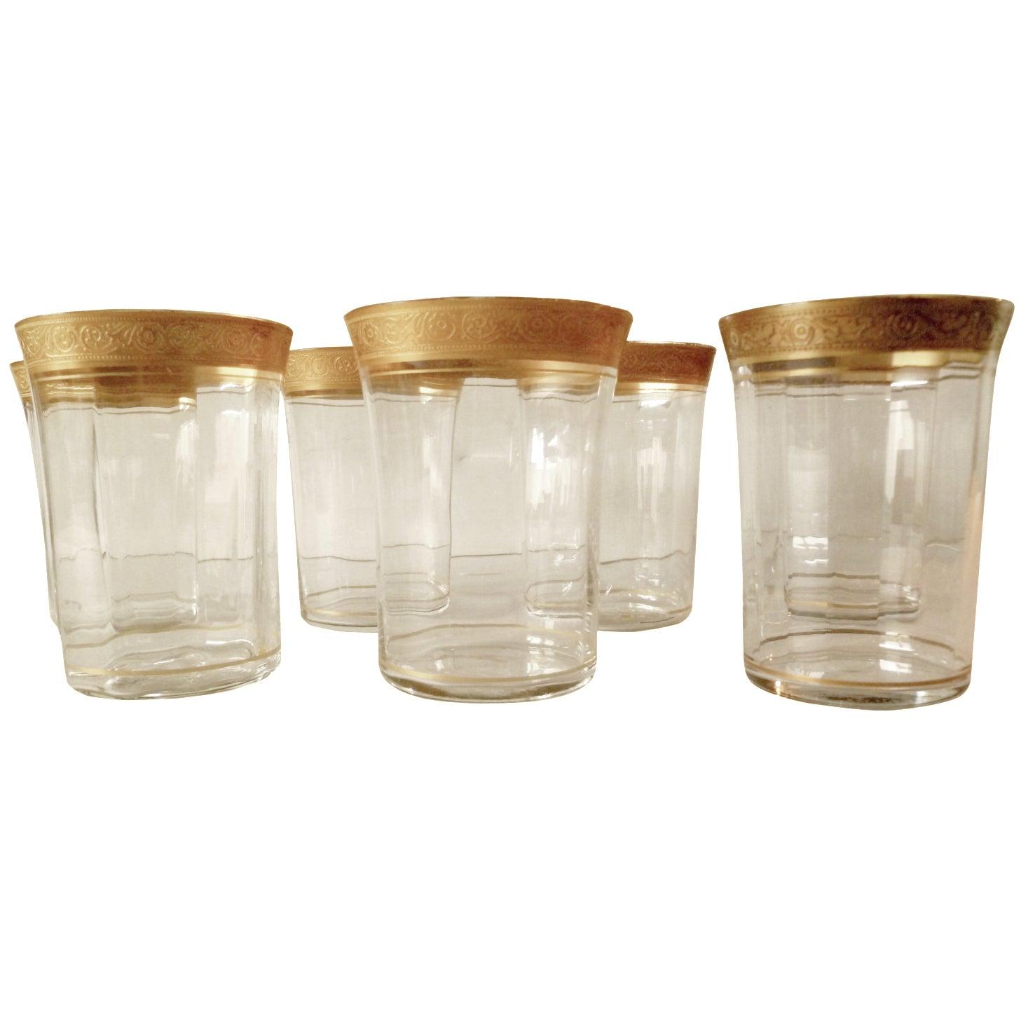 8217b7d5615 Gold Rim Crystal Tiffin Tumblers - Set of 7