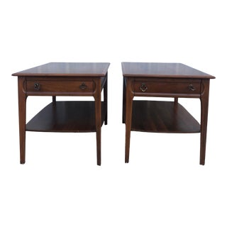 Mid Century Modern Single Drawer End Tables by Mersman - a Pair For Sale