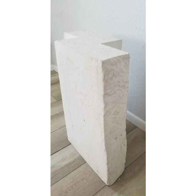 Postmodern Geometric White Plaster Pedestal For Sale - Image 4 of 12