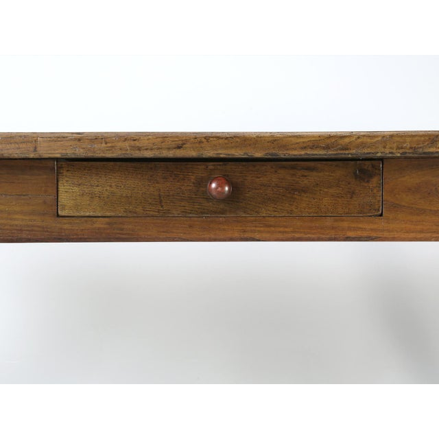 Brown French Oak Table With Pass-Through Drawer For Sale - Image 8 of 11