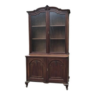 1900s Antique English Queen Anne Style China Cabinet For Sale