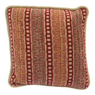 20th Century Contemporary Burgundy and Gold Upholstered Decorative Pillow For Sale