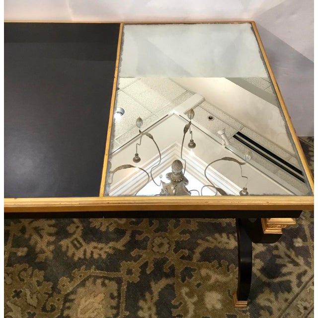 Transitional Transitional Lillian August for Hickory White Black and Gold Ziecel Writing Desk For Sale - Image 3 of 11
