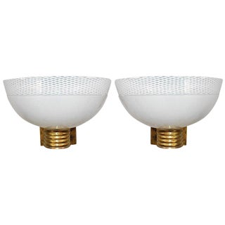 Venini Murano Ribbed Cup Sconces- A Pair For Sale
