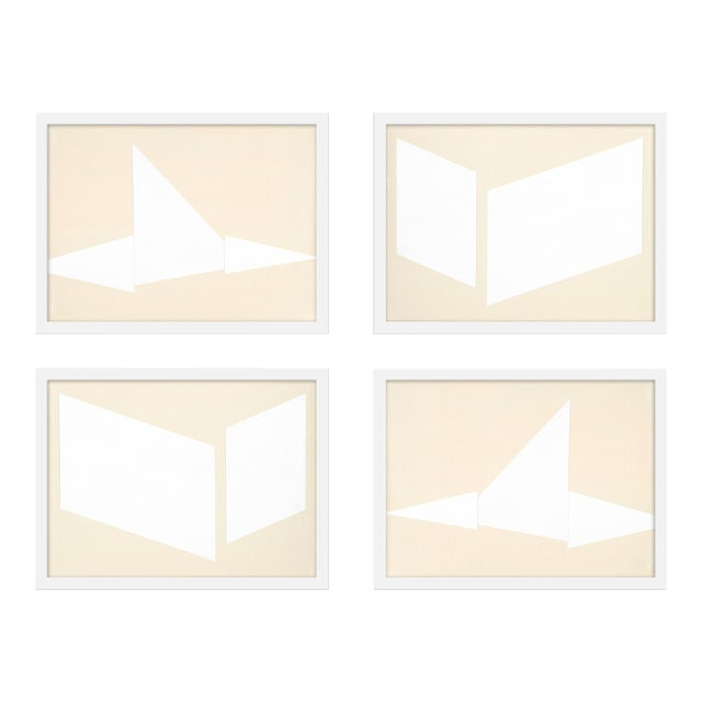 "Medium ""Compositions in Cream, Set of 4"" Print by Jason Trotter, 40"" X 30"" For Sale"