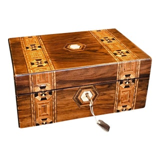 19th Century English Inlaid Jewelry Box or Tea Caddy With Lock and Key For Sale
