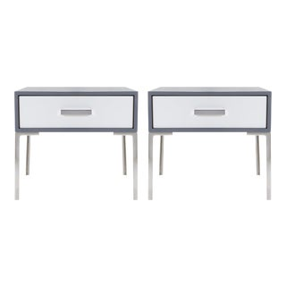 Astor Nickel Nightstands in Washed Gray Oak by Montage, Pair