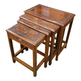 Carved Wood With Brass Inlay Nesting Side Tables - Set of 4 For Sale