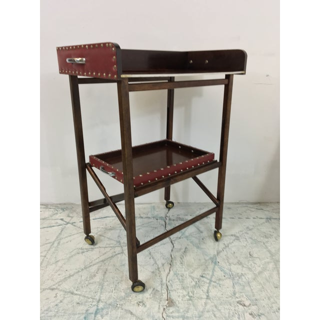 1950s Vintage Leather 2 Tray Bar Cart - Image 4 of 5