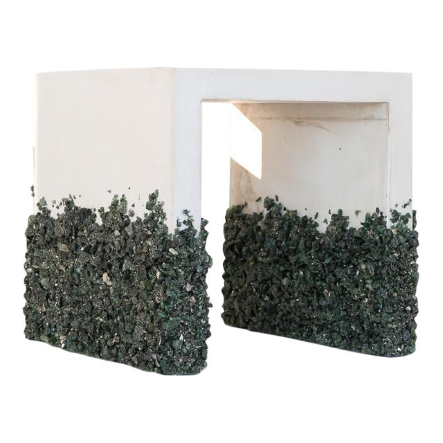 Hand Made Side Table of Dark Green Aventurine, Pyrite and White Plaster For Sale