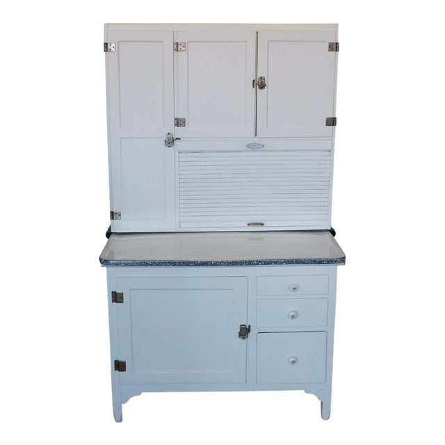 Antique Sellers Restored Painted White Hoosier Kitchen Cabinet C1890 For Sale