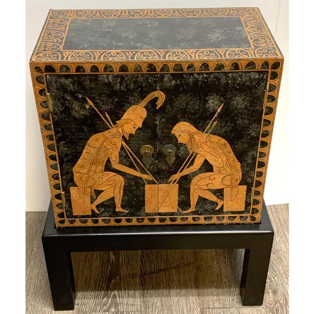 Grand Tour Style Polychromed Greek Motif Cabinet on Stand For Sale - Image 4 of 13
