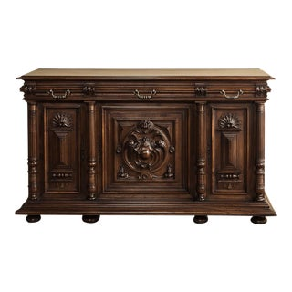 19th Century Renaissance Henri II French Walnut Buffet For Sale