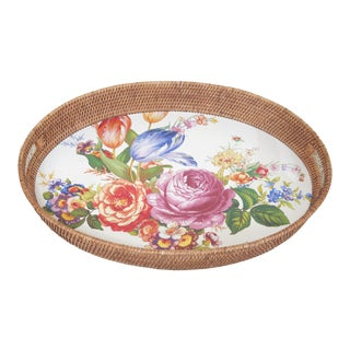 1990s Vintage Mackenzie Childs Oval Tole Decorated Serving Tray For Sale