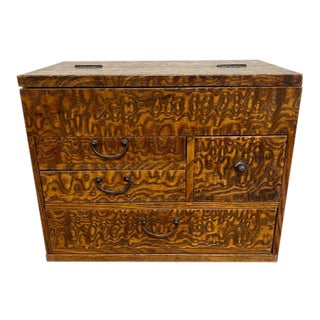 C.1900 Japanese Jewelry Box of Mixed Exotic Woods For Sale
