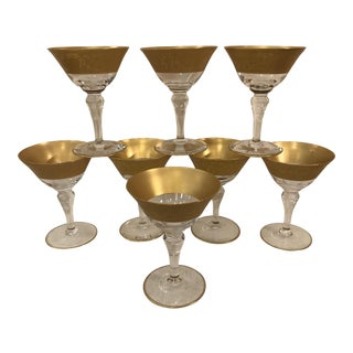 Mid-Century Gold Rim Champagne Coupes - Set of 8