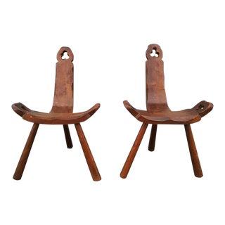 1950s Vintage Tripod Antique Brutalist Chairs- a Pair For Sale