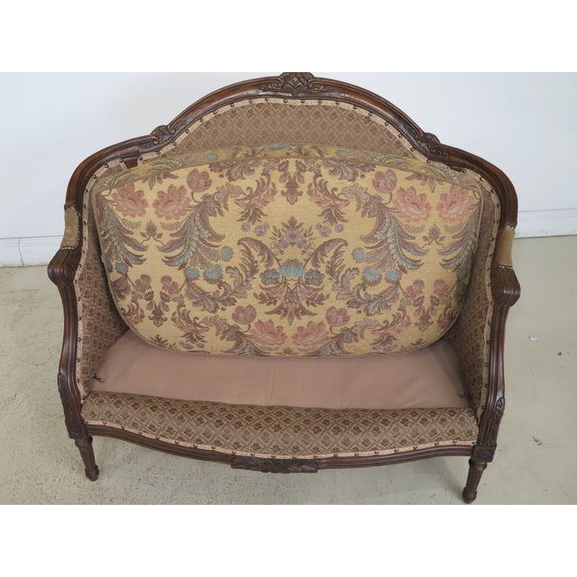 French Louis XV Style Loveseat with Ottoman - A Pair For Sale - Image 9 of 13