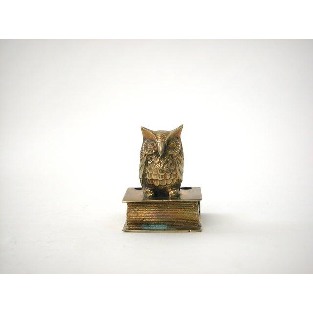 Vintage Brass Owl Pen Holder - Image 4 of 8