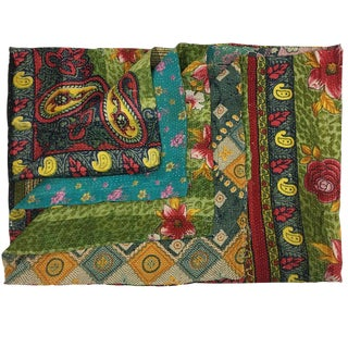 Paisley and Roses Vintage Kantha Quilt For Sale