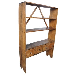 20th Century Country Pine Library Bookshelf For Sale