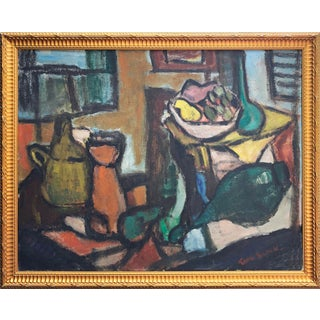 Vintage Mid Century Abstract Still Life Oil Painting by Tomi Block C.1950s For Sale