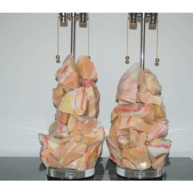 Rock Candy glass table lamps by Swank Lighting! These beautiful cluster lamps in PEACH RASPBERRY swirl are made of...