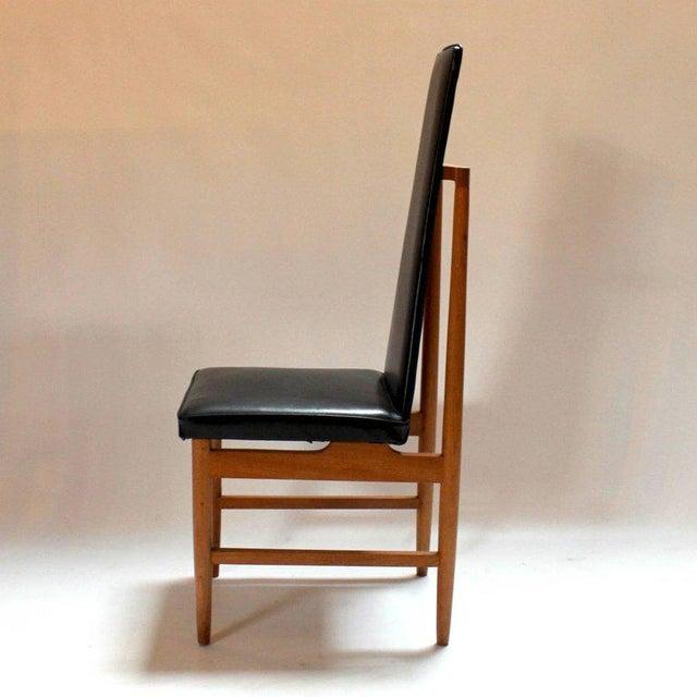 Plastic Danish Modern Teak & Black Vinyl Tall-Back Dining Chairs - Set of 4 For Sale - Image 7 of 11