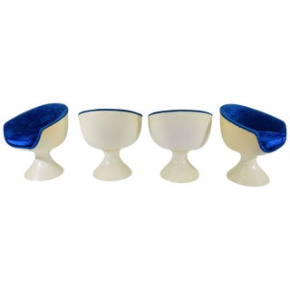 Four Space Age Style Bubble Chairs in Blue Velvet by Chromecraft