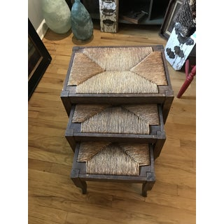 Mid 19th Century Antique Cattail Rush Nesting Stools- Set of 3 Preview