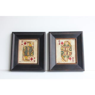 Julius Folk Art Queen & King Game Cards Oil Paintings - A Pair Preview