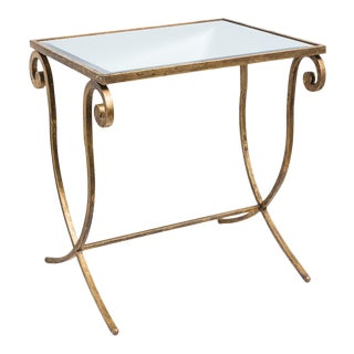 Art Deco Style Gilt Metal Drinks Table, Antique Beveled Mirror Top For Sale