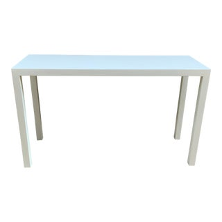 1970s Paper White Parsons Sofa Console Table For Sale