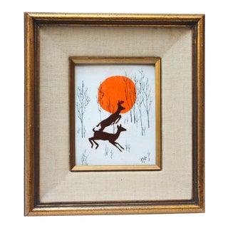 Vintage 'Prancing Deer' Framed Enamel on Copper For Sale