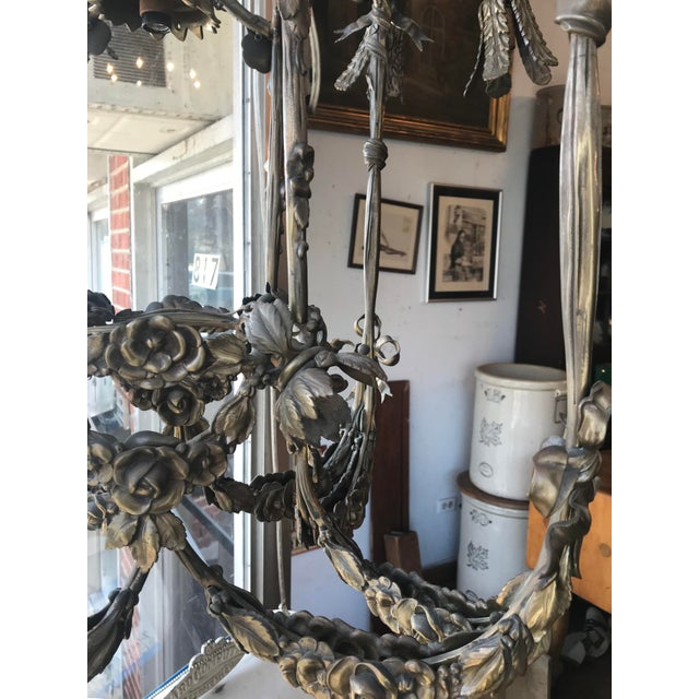 Floral Appliqué Antique French Brass Chandelier For Sale - Image 12 of 13