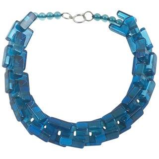 Italian Designer Studio Sculptural Transparent Blue Ocean Carved Lucite Necklace For Sale