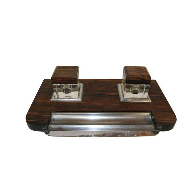1920s inkstand made in Macassar wood with original glass inkwells.